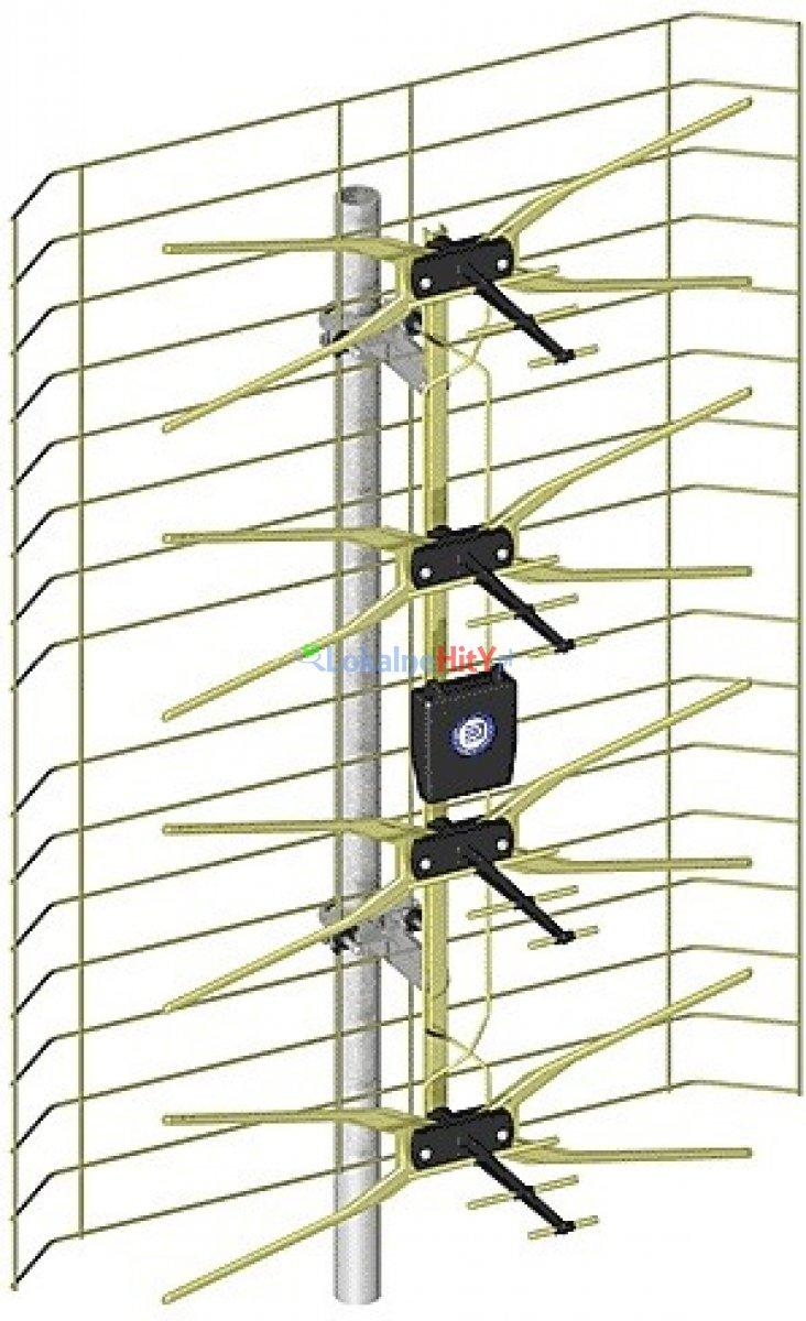 Antena szerokopasmowa gold + zasilacz + wzmacniacz