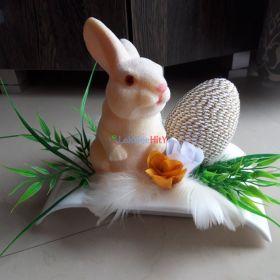 Stroik świąteczny wielkanocny zajaczek jajko pisanka Wielkanoc piórka