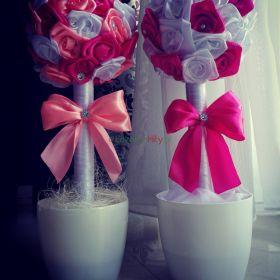 Drzewko 40 cm z różyczek ze wstążki kwiatek stroik prezent upominek dekoracja