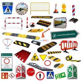 Znaki drogowe, progi zwalniające, lustra drogowe, bariery, BRD